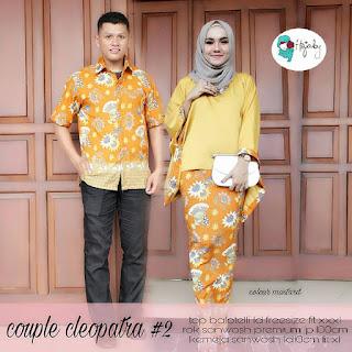 Setelan Baju Batik Pasangan Couple Gamis Muslim SRG201 Kuning