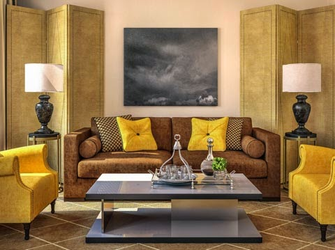 diseño sala marrón amarillo