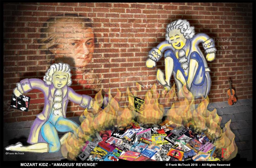 "Frank McTruck digital cartoon artwork 'Mozart Kidz' - ""Amadeus Revenge"""