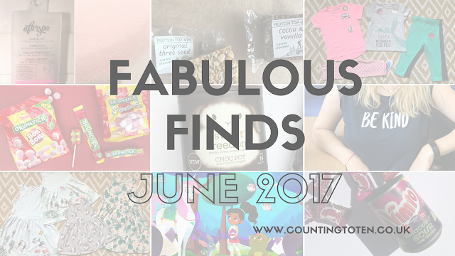 A collage of the 9 photographs below with the text Fabulous Finds June 2017