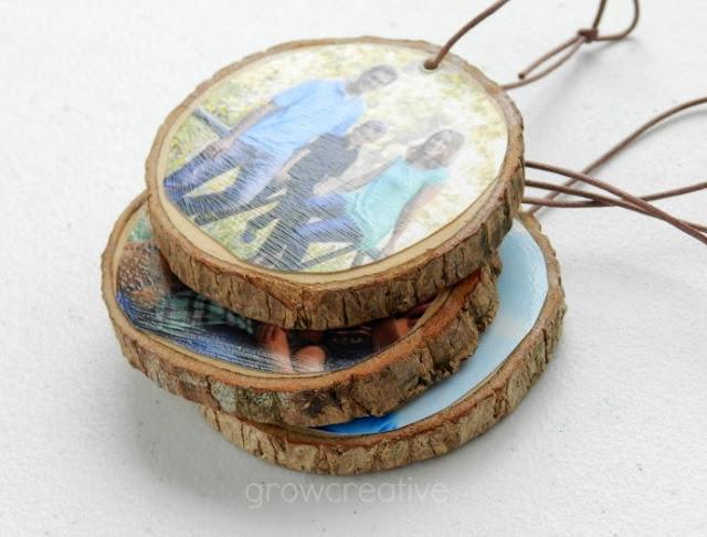 Rustic Christmas Wood Slice Ornaments with Family Photos: Grow Creative Blog