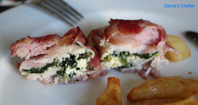 Carole's Chatter:  Bacon Wrapped Chicken Thighs Stufffed with Spinach & Ricotta