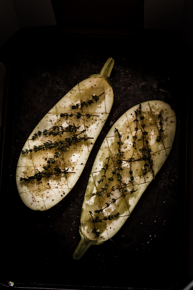 aubergine drizzled with oil and ready to bake