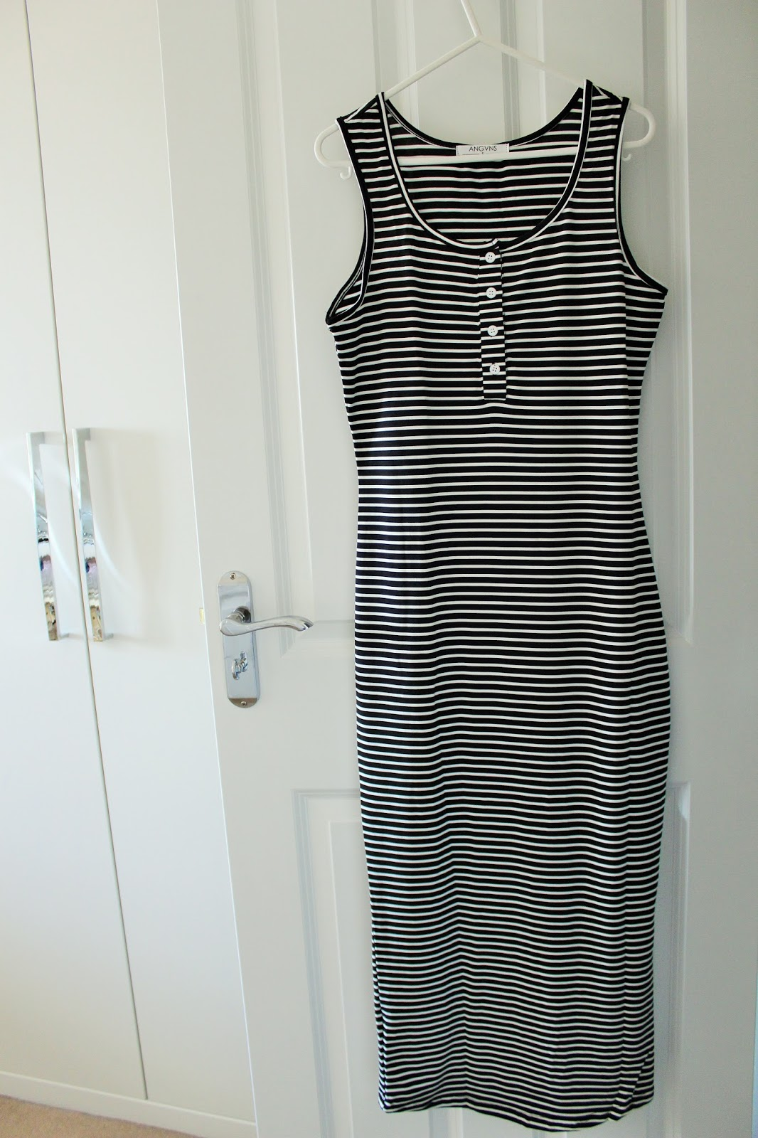 Black and White Striped Fitted Maxi Dress from Zaful.com