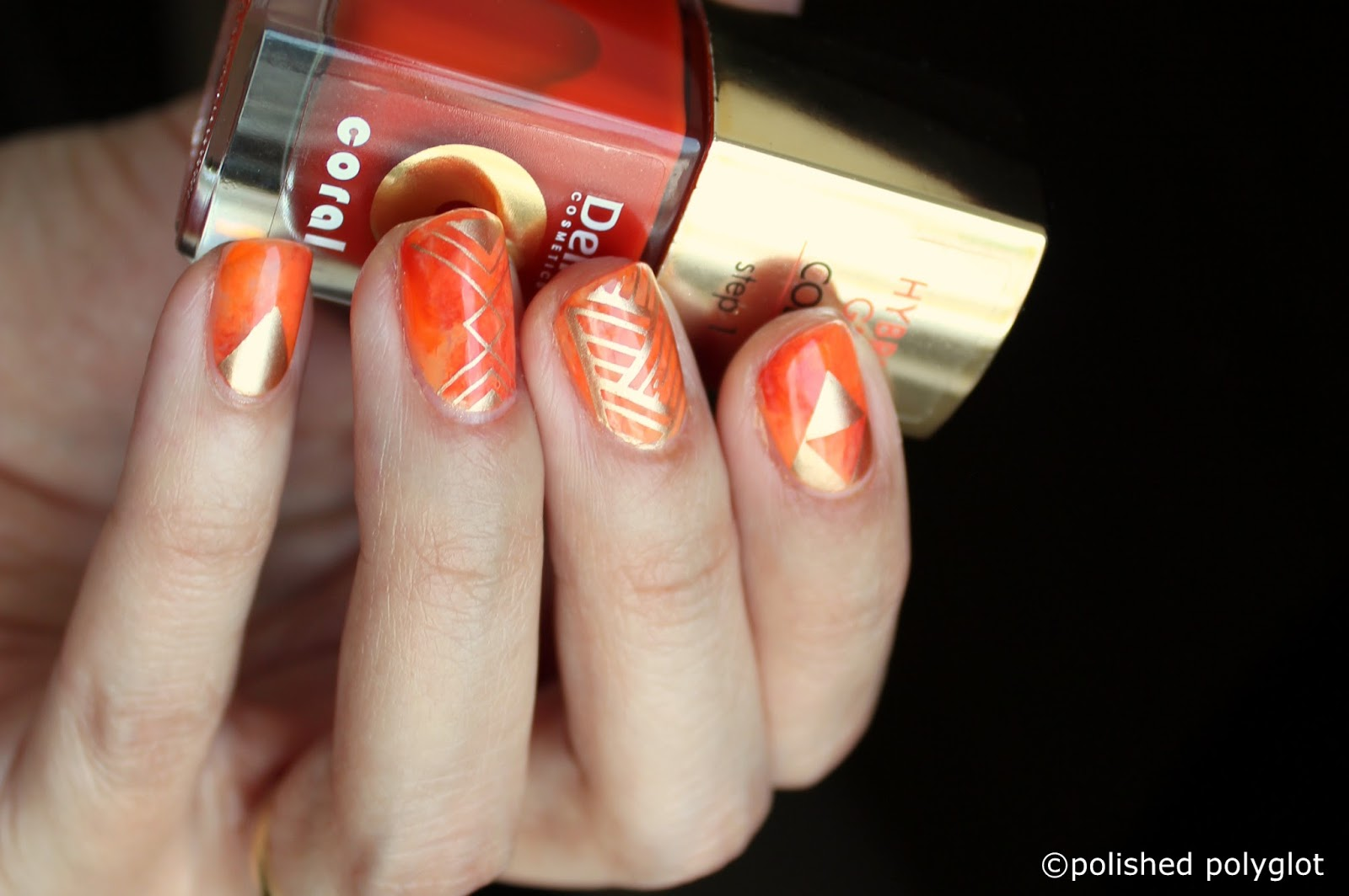 Nail art Designs for short nails: Orange saran wrap ...