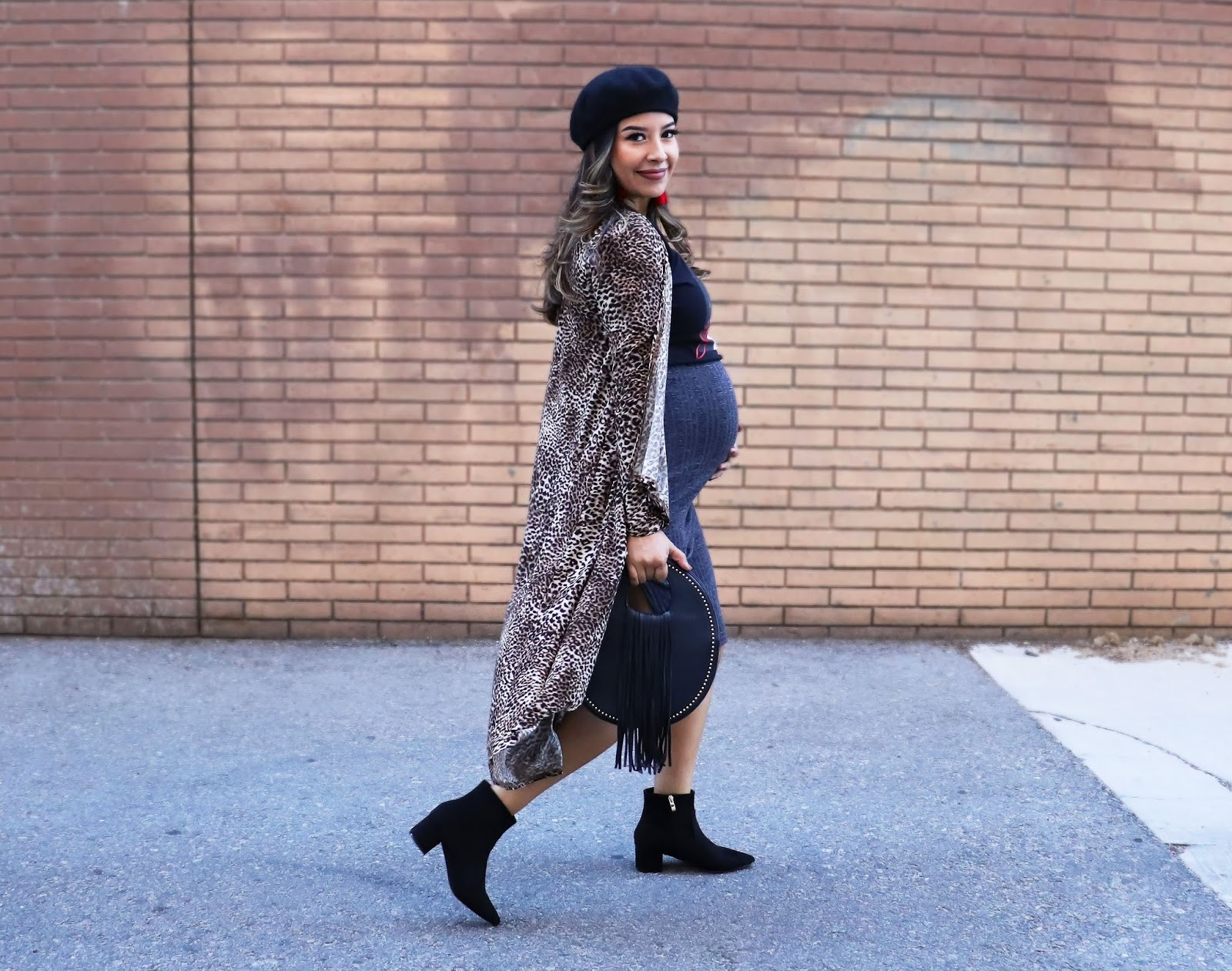 Fall Maternity Outfit with Selena Quintanilla top Leopard Duster and Vegan Suede Pointed Boots