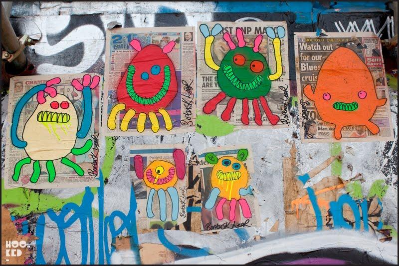 London street art monster paste-ups by Bortusk Leer