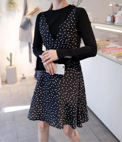 Dotted Deep V-Neck Sleeveless Dress