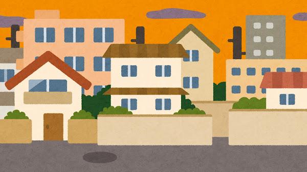 夕方の住宅街のイラスト(背景素材)