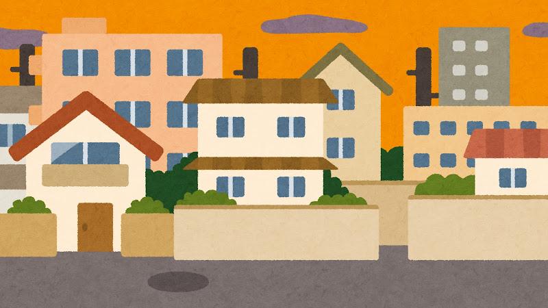 夕方の住宅街のイラスト背景素材 かわいいフリー素材集 いらすとや