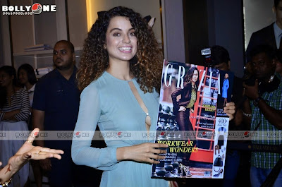 2014 Latest New Hot Images of Kangana Ranaut Without Bra showing her beautiful and hot cleavage at Grazia 2014 Launch