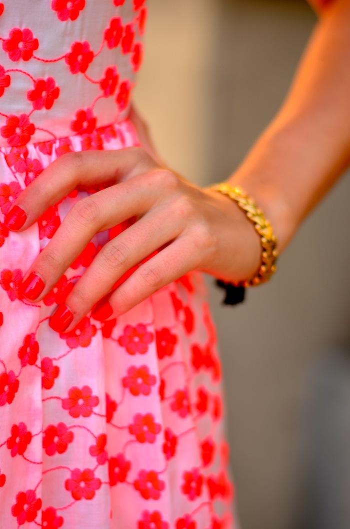 J Crew Embroidered pink floral racer dress