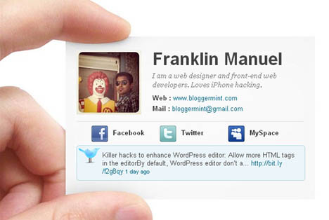 Free e-Business Card Blogger Template