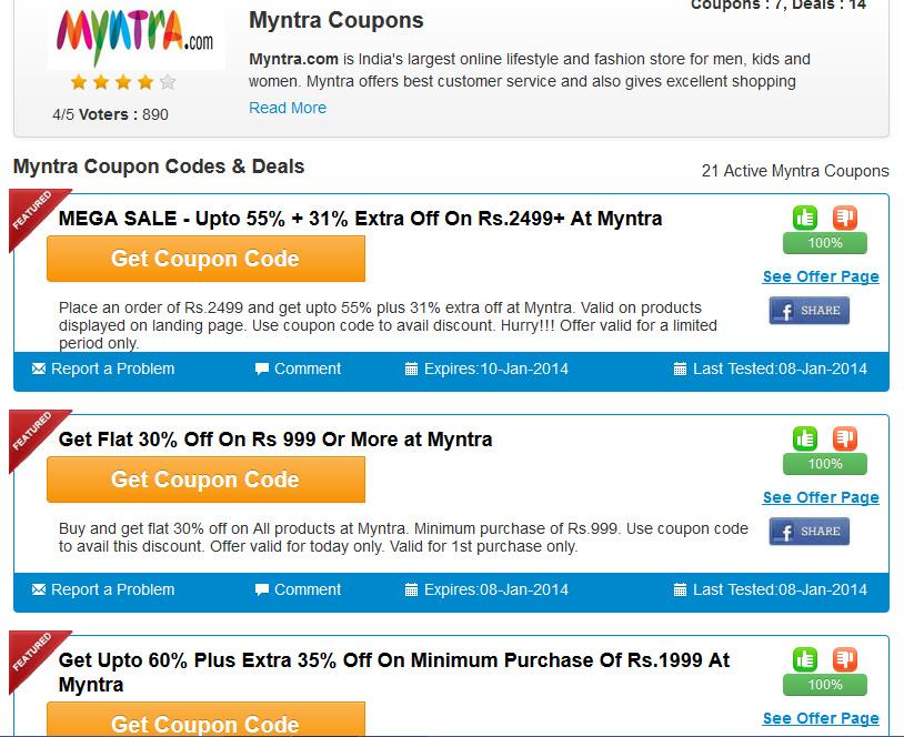 Myntra Discount Coupons Couponrani