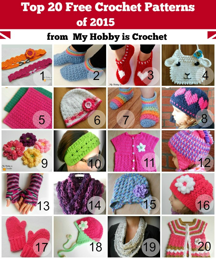 Top 20 Free Crochet Patterns of 2015 from My Hobby is Crochet