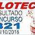 Resultado da Loteca concurso 821 (08/10/2018)