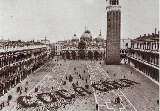 A Coca Cola advertisement made by pigeons in St. Mark's Square, Venice, ca. 1960s