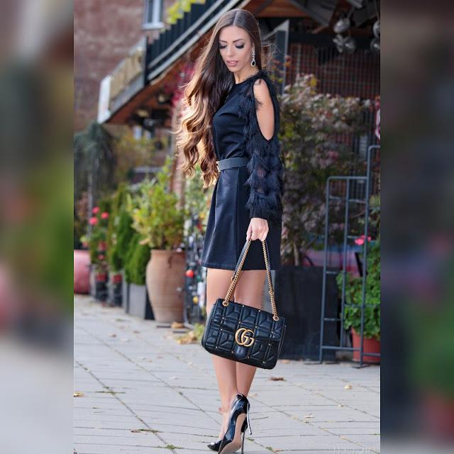 Στυλάτο κοντό μαύρο φόρεμα  φόρεμα SANTANA