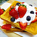 Belgium Waffles with ice cream and fruit