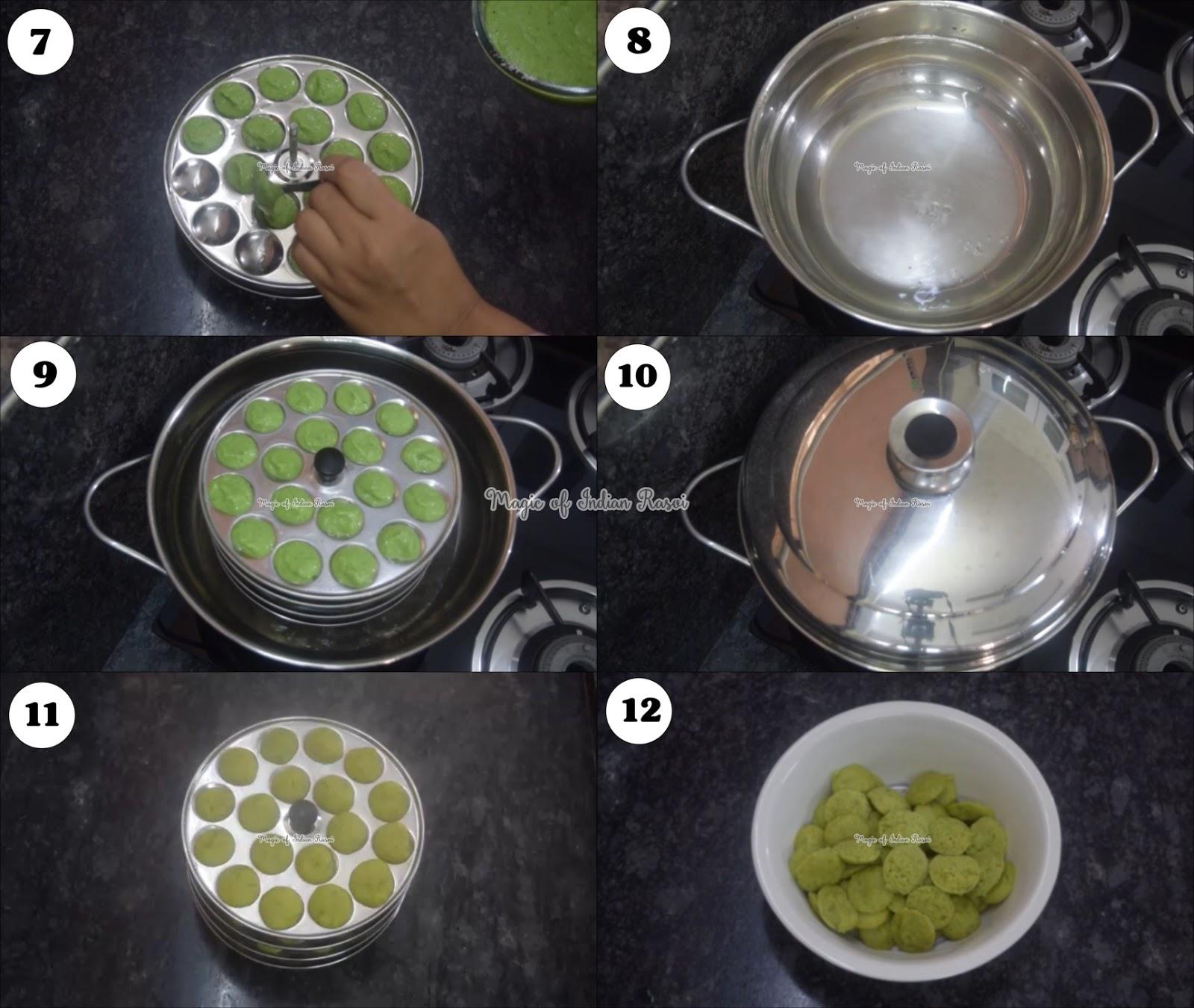 Mini Cocktail Hariyali Idli Recipe - मिनी कॉकटेल ग्रीन इडली रेसिपी - Priya R - Magic of Indian Rasoi
