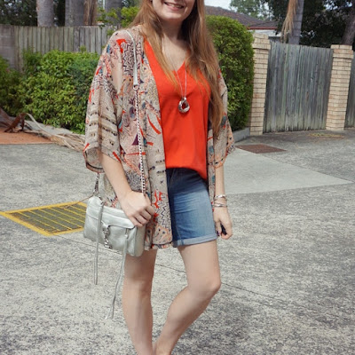 awayfromblue Instagram | kindness collective kimono coral v-neck tee and bermuda denim shorts SAHM mum style