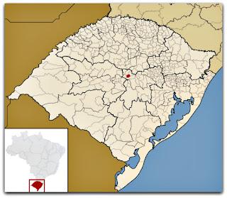 Cidade de Sobradinho, no mapa do Rio Grande do Sul