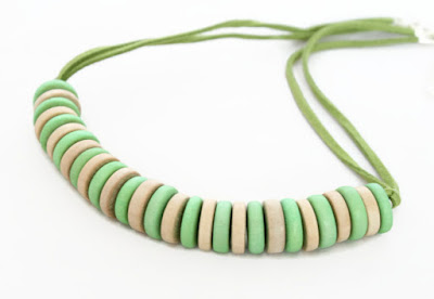 Mint Green & Natural Wood Bead Necklace by Lottie Of London