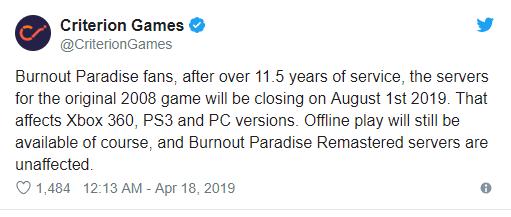 خوادم لعبة Burnout Paradise سيتم إيقافها في 1 أغسطس