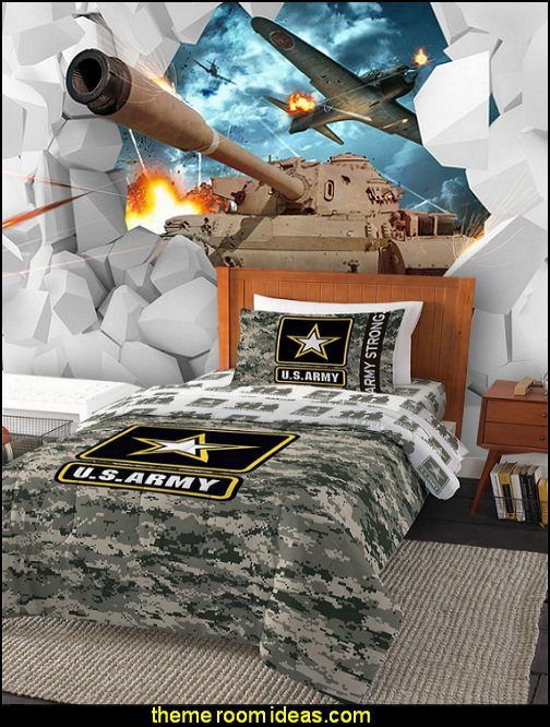 U.S Army The Department of the United States Army, Camo Comforters Aircraft Tanks Battlefield Large Mural