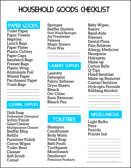 An Easy Way to Save Money on Household Goods {free printable - sample list