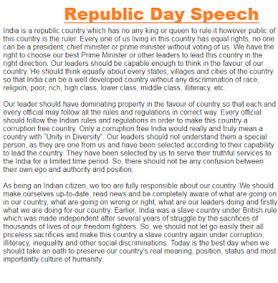 26 January Speech