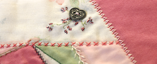 Button Detail on a Crazy Quilt Block