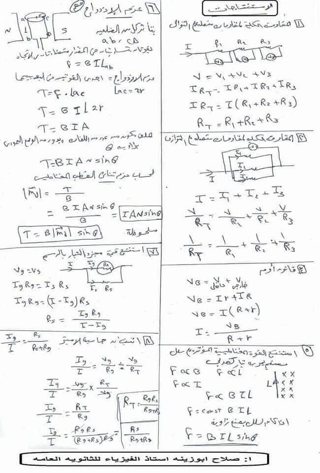 مراجعة اثباتات و قوانين و رسومات منهج الفيزياء للصف الثالث الثانوي 10