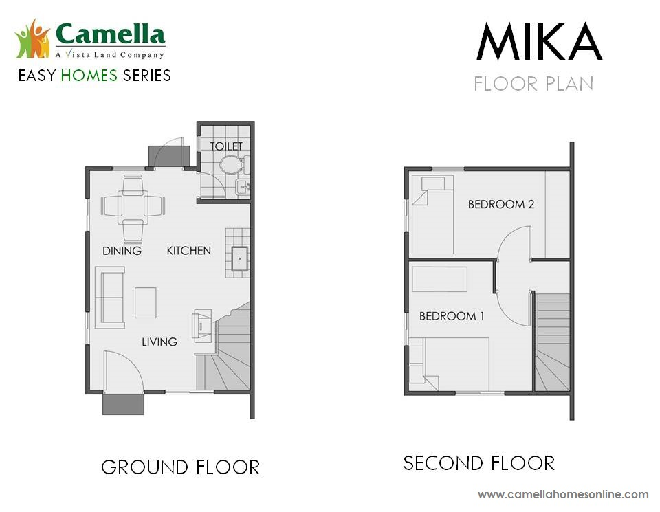 Floor Plan of Mika - Camella Cerritos | House and Lot for Sale Daang Hari Bacoor Cavite