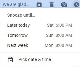 Gmail enable snooze time