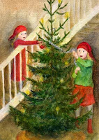 A postcard illustration of a girls with a gnome caps decorating a Christmas tree