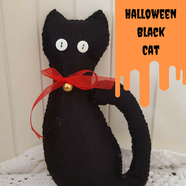 DIY felt black cat Halloween decor