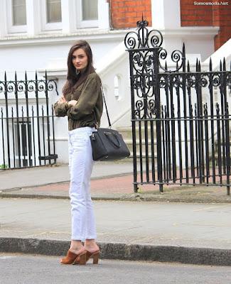 Pantalones de moda blancos
