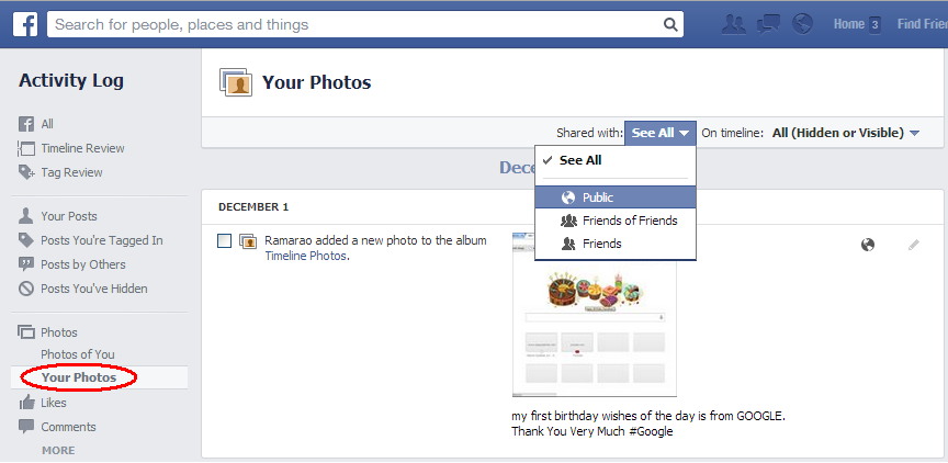 Your Facebook Photos Shared with Public, Friends of Friend or Friends Activity Log