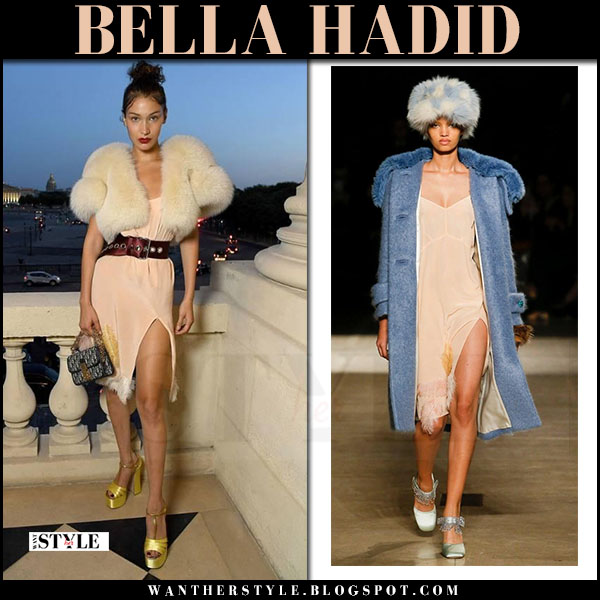 Bella Hadid in pink miu miu dress and gold sandals what she wore july 2 2017 haute couture week