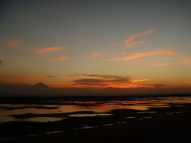 Sunset over a volcano in Gili Trawangan