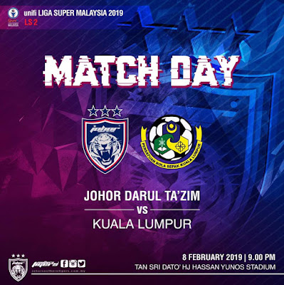 Gambar perlawanan JDT vs Kuala Lumpur Liga Super 8.2.2019