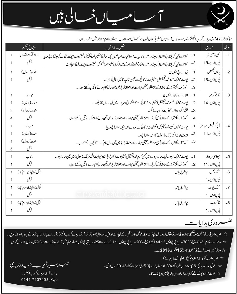 477 Army Survey Group Engineers Jobs july 2016