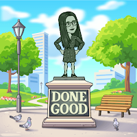 Miss Lawrence's cartoon bitmoji avatar, a woman with long hair and big glasses, depicted as a statue in a park above the text 'done good'.