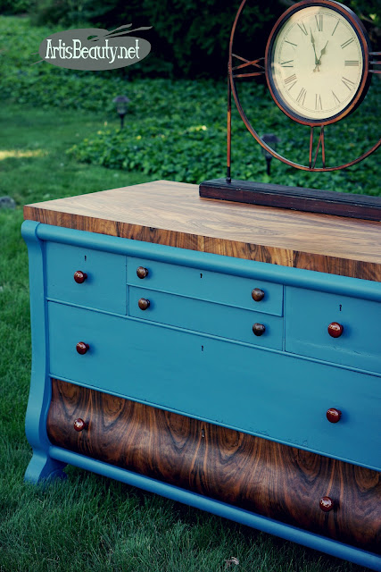 rosewood and walnut custom painted empire buffet dresser makeover general finishes
