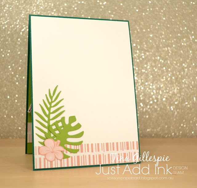 scissorspapercard, Stampin' Up!, Just Add Ink, Happy Birthday Gorgeous, Fabulous Flamingo, Tropical Thinlits, Tropical Escape DSP