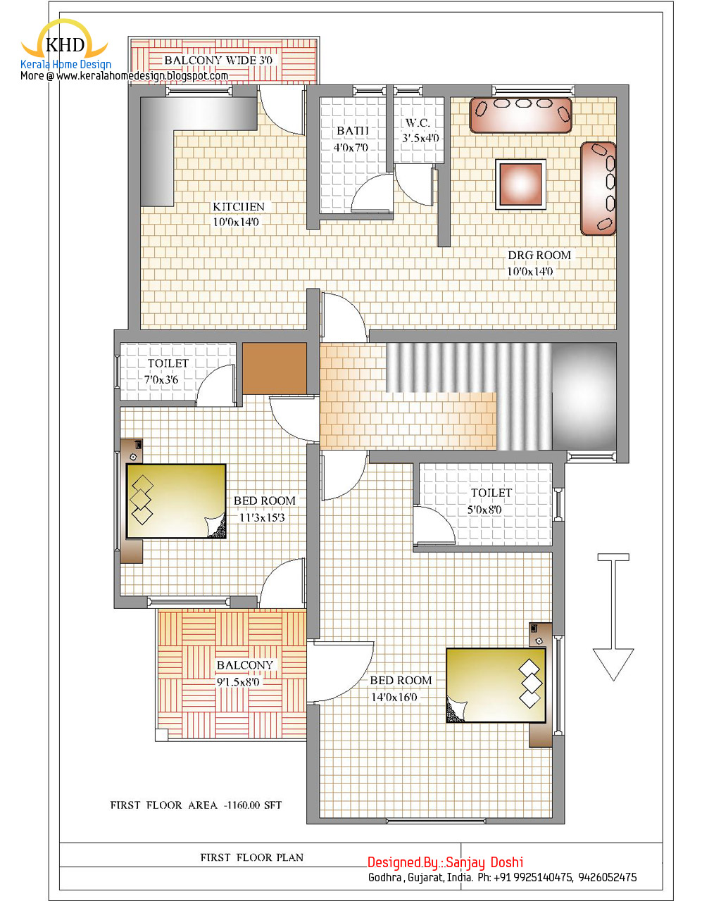 Duplex house plan and elevation 2310 sq ft indian for 2 bhk house plans south indian style
