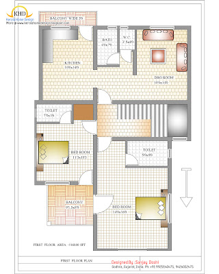 Duplex House Plan and Elevation First Floor Plan - 215 Sq M (2310 Sq. Ft.) - January 2012