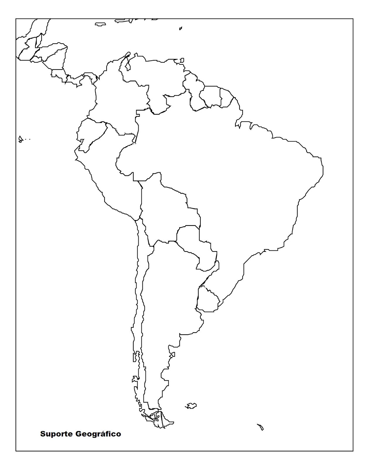 Mapa Mudo De America.Mapa Mudo America Do Sul Suporte Geografico