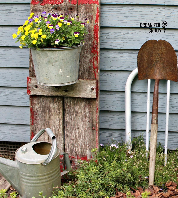Junk Upcycled As Garden Decor #garagesale #containergarden #gardenjunk  #junkgarden